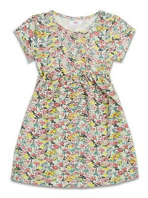 Girls Dress 2-8 Years New Floral Multicoloured Short Sleeve Casual 100% Cotton