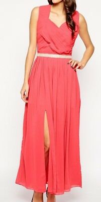 VLabel Women's Pink Camden Cocktail Party Maxi Dress with Thigh Split UK SIZE 14