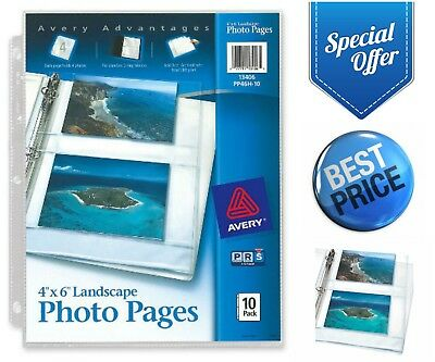 "Avery Horizontal Photo Pages 4"" X 6"" 10-Pack 40 Photos for 3-Ring Binder Sleeves"