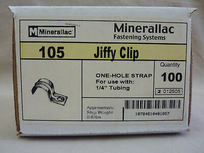 """Minerallac, 105 Jiffy Clip, 1-Hole Strap for 1/4"""" tubing, Box of 100"""