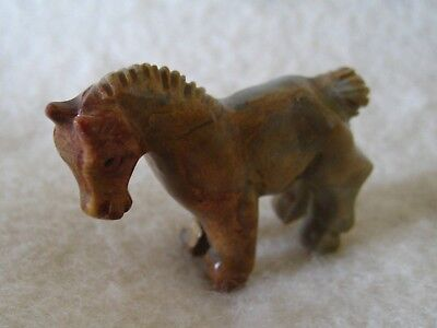 Miniature Horse Figurine, Hand-Carved Variegated Dolomite Stone - Unique!