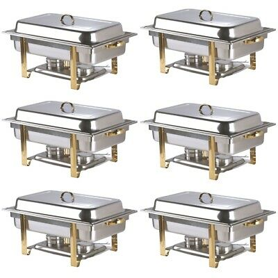 6 PACK Catering Chafing Dish Deluxe Set GOLD ACCENT Stainless Steel Chafer 8 QT