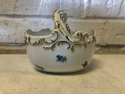 Herend Hungary Hand Painted Gilded Porcelain with Handle and Floral Decorations