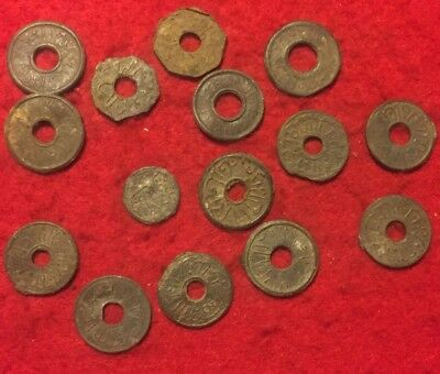 15 Antique Ancient Medieval Indonisia Tin Pitis Coins Tokens Rare Lot Asian Hole