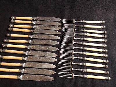 Antique Rare Victorian Silver Plate Flatware Set For Dessert Fruit 24'pieces