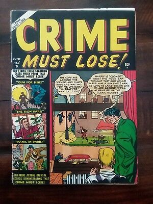 Crime Must Lose #7. 1951. Very glossy cover, but VG- grade due to...