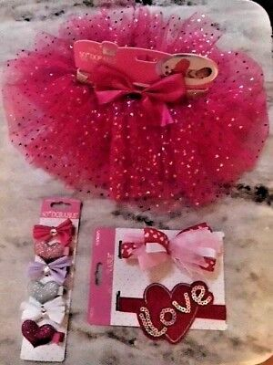 So Dorable Red TuTu Skirt 2 Headbands 6 Hair Clippies Photo Shoot 0-3 months SET