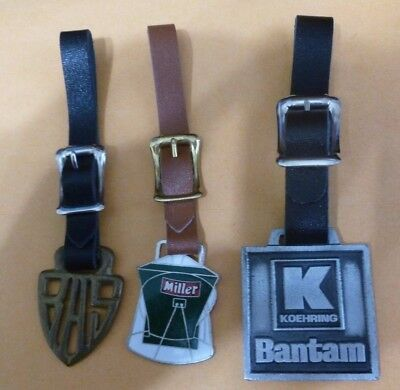 3 Different Advertising Antique Watch Fobs, Bas, Miller, Bantam By Koehring
