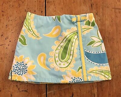 Lilly Pulitzer Blue Yellow Paisley Floral Skirt Skort Size 3 3T EUC
