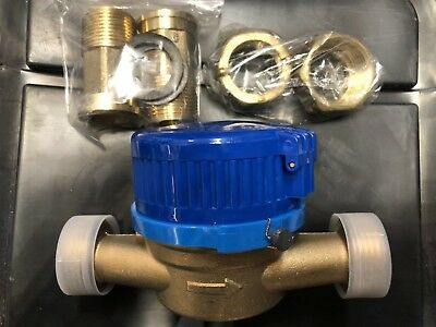 "3/4"" inch 100% All Brass (NO ALUMINUM) Branch Water Meter, With Couplings"