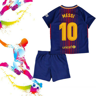 2018 MESSI Soccer Football Short Sleeve Kit 3-14 Kids Boy Jersey Shirt Team Suit