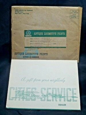 1940s Cities Service Gas Oil Advertising Giveaway Antique Locomotive Prints Pack