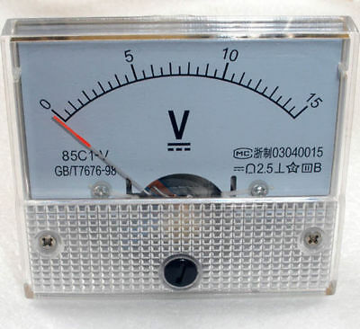 DC 15V Analog Panel Voltmeter Volt Voltage Meter Gauge 85C1 Class 2.5 DC 0-15V