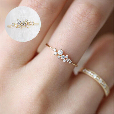 Women Elegant 925 Ring Engagement Silver Crystal 14k Solid Gold Fashion Gifts