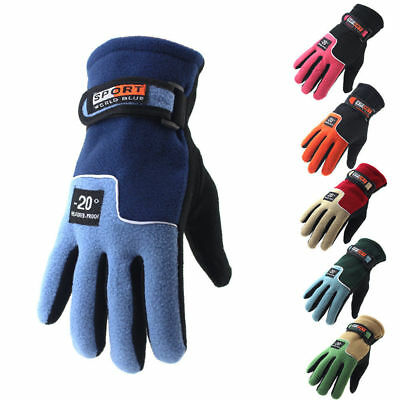 Bike Cycling Fleece Thermal Warm Full Finger Gloves Men Women's Bicycle Riding