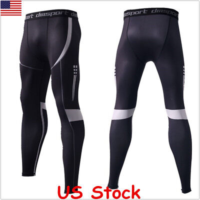 Mens Gym Compression Pants Long Trousers Base Layer Running Tights Sport Workout