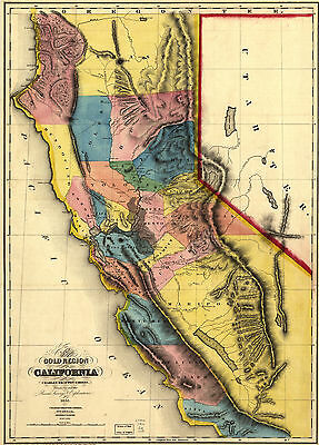 """1851 Map of California, Many details, antique, Gold Regions, Mining, 28""""x20"""""""