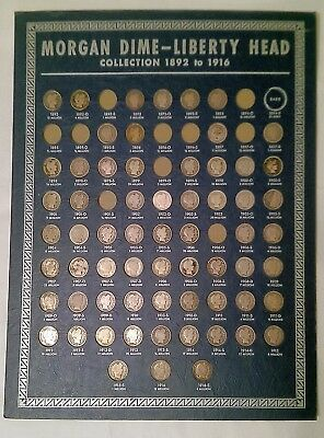 Silver Barber Morgan Dime Collection 1892-1916 with 64/74 coins and Whitman bd