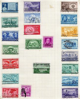 DMB Stamps - United States -  Stamps on Album page from Old Collection   -  Used