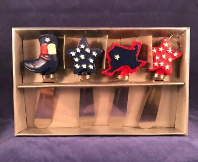 Patriotic 4th of July Cheese Spreaders Lone Star State Boot Red White Blue Texas