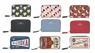 Coach Zip Around Coin Case Leather or PVC Wallet (Select Color)