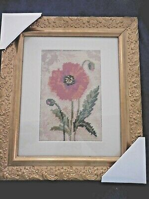 Tapestry Poppy Flower Completed And Framed In Ornate Gold Frame New