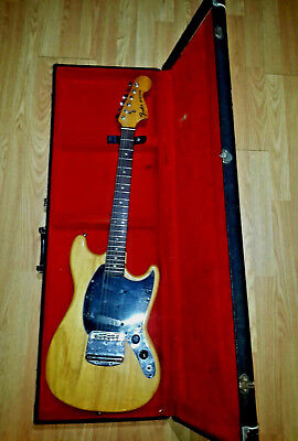 Vintage 1978 Fender USA Mustang Natural Guitar ORIGINAL CASE OHSC ALL ORIGINAL