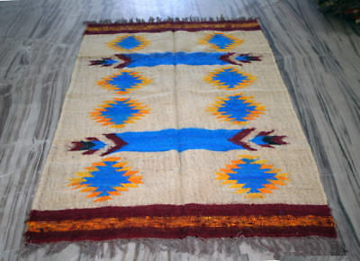 Kilim Rug Indian Silk Jute Wool Hand Knotted Diamond Area Rug Floor Mat 4x6 feet