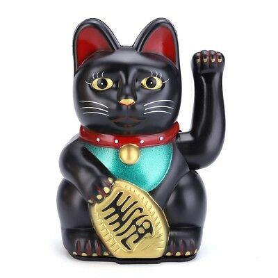 Feng Shui Black Beckoning Cat Wealth Lucky Waving Kitty Gifts Office Home Decor