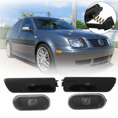 4Pcs For 99-05 VW Jetta Golf MK4 Smoked Fender + Bumper Lights Side Marker Lamps