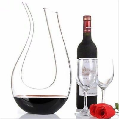 1.2L Luxurious Crystal Glass U-Shape Clear Wine Decanter Pourer Red Wine Carafe