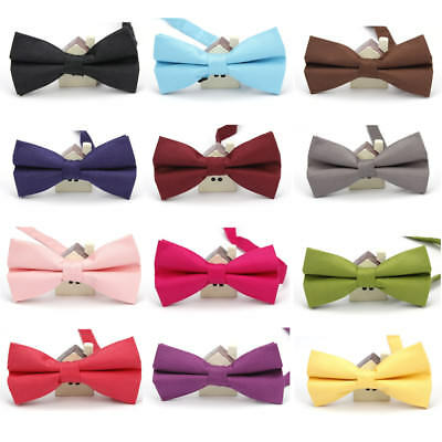 Men Cotton Colorful Solid Color Bow Tie Wedding Party Adjustable Bowtie YF117