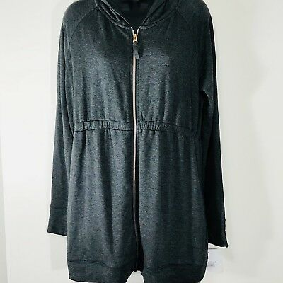 Isabel Maternity Long Zippered Hoodie Sweatshirt Charcoal Sz M Soft Cozy NWT
