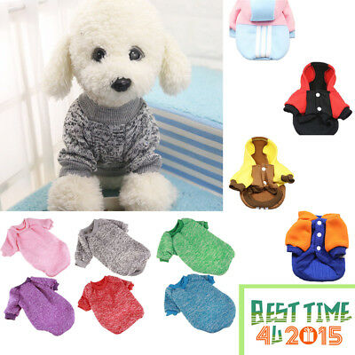 Dog Puppy Pet Warm Coat Soft Winter Jacket Clothes Jumper Sweater Knitwear Small