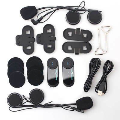 2x Bluetooth Helmet Intercom Communication Kit BT Motorcycle Interphone Headsets