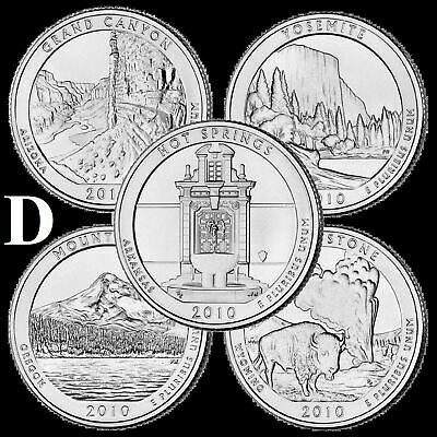"A COMPLETE Denver 2010 D Five Coin ""BU"" National Parks US Quarter Set ATB Series"