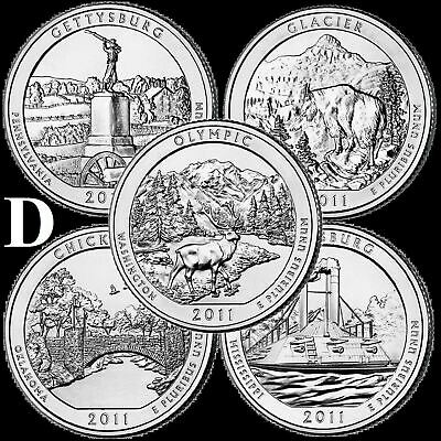 "A COMPLETE Denver 2011 D Five Coin ""BU"" National Parks US Quarter Set ATB Series"