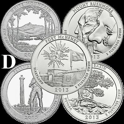 "A COMPLETE Denver 2013 D Five Coin ""BU"" National Parks US Quarter Set ATB Series"
