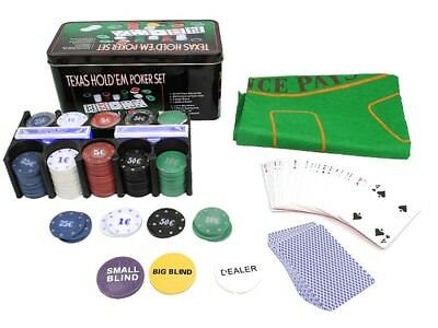 Texas Hold`em Poker Set Chips Black Jack Kartenspiele Pokerkartenspiel #600