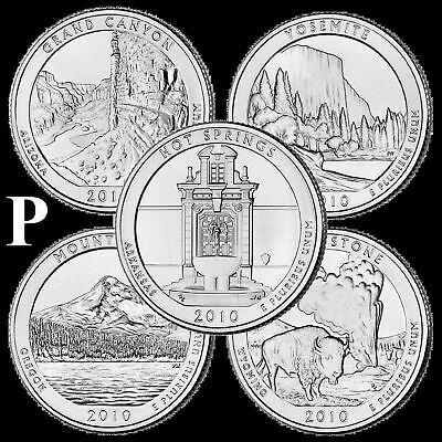 "A COMPLETE 2010 P Five Coin ""BU"" National Parks US Quarter Set ATB Series"