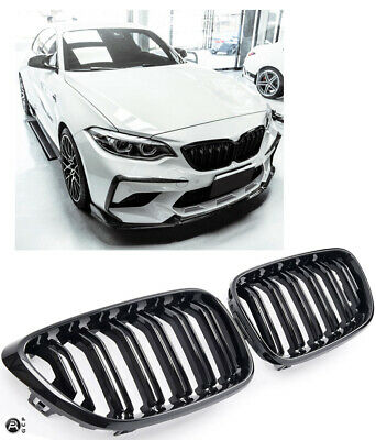 Grille For Bmw F22 F23 F87 Sport Kidney Double Slat M2 Look Gloss Black