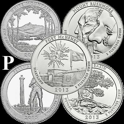 "A COMPLETE 2013 P Five Coin ""BU"" National Parks US Quarter Set ATB Series"