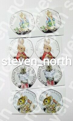 8 Beatrix Potter 2018 50p Colour Decals/Stickers (2 Sets) •FAST AND FREE POST•
