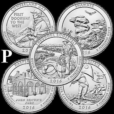 "A COMPLETE 2016 P Five Coin ""BU"" National Parks US Quarter Set ATB Series"