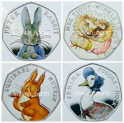 4 Beatrix Potter 2016 50p Colour Decals/Stickers (1 Set) •FAST AND FREE POSTAGE•