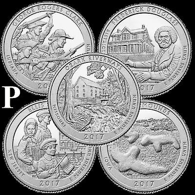 "A COMPLETE 2017 P Five Coin ""BU"" National Parks US Quarter Set ATB Series"