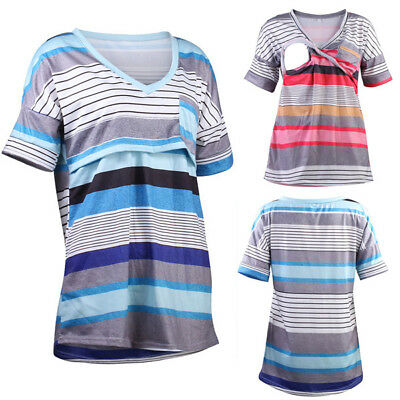 US Women Maternity Clothes Breastfeeding Top Short Sleeve Nursing T-shirt Blouse