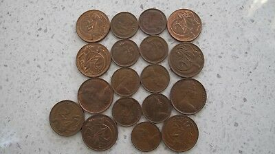 BULK LOT 18 x  1 & 2 CENT PIECES FROM 1966