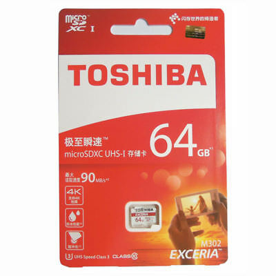 TOSHIBA EXCERIA 64GB Micro SD TF C10 4K U3 90MB/s Memory Card for Samsung Huawei