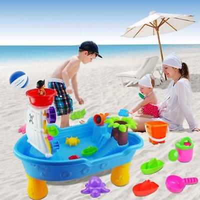 Children Beach Sandpit Play Table Kids Outdoor Pirate Ship Sand & Water Toys Set